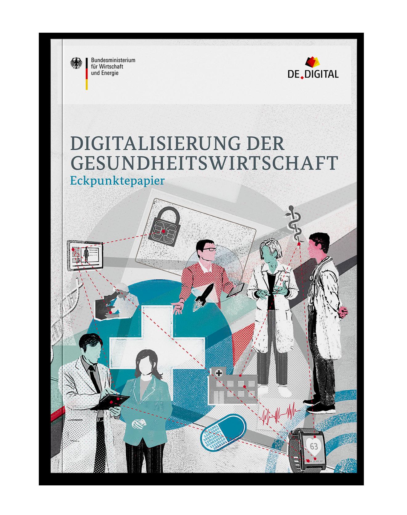 Coverdesign Digitalisierung der Gesundheitswirtschaft für das Bundesministerium für Wirtschaft und Energie