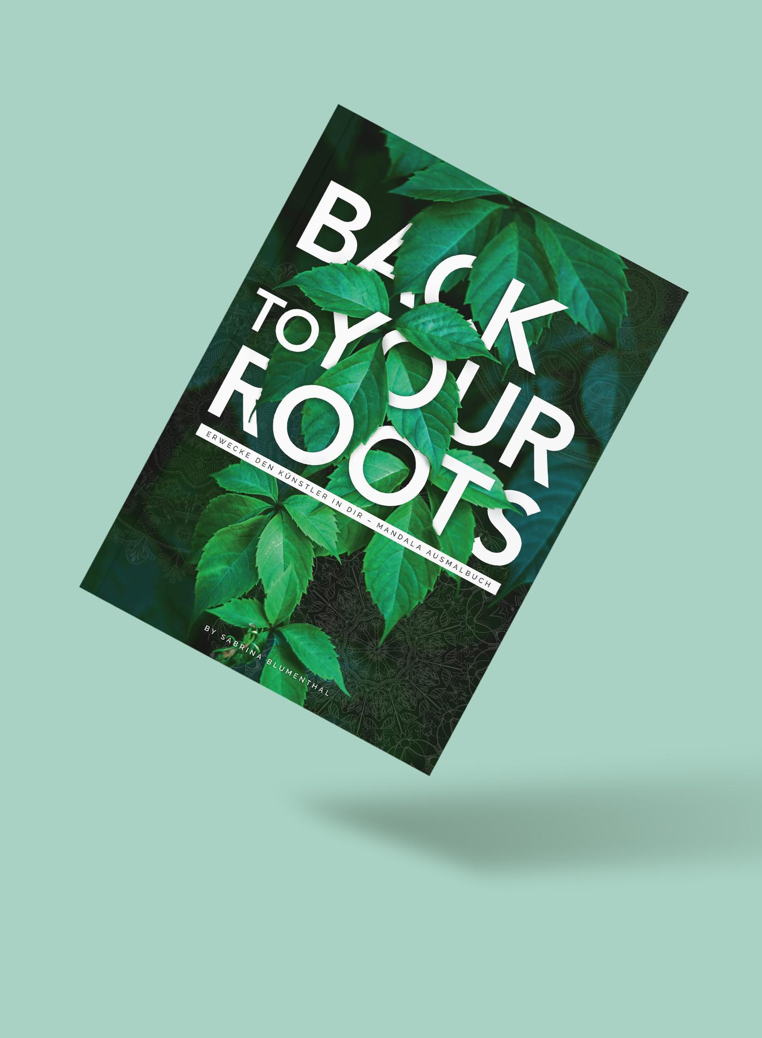 Covergestaltung eines Mandala Ausmalbuches mit dem Titel Back to the roots
