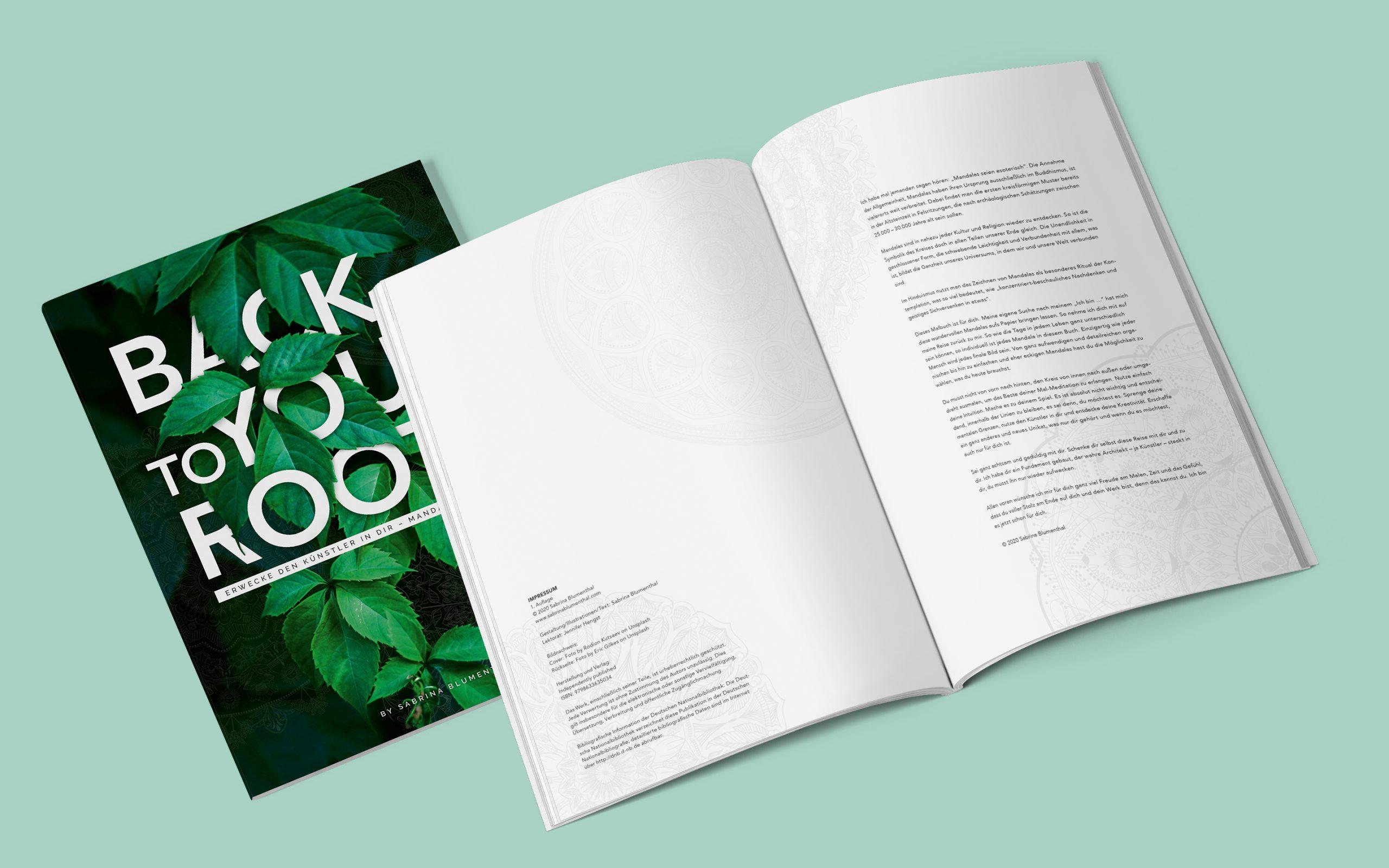 Covergestaltung und erste Innenseite mit Text des Mandala Ausmalbuches